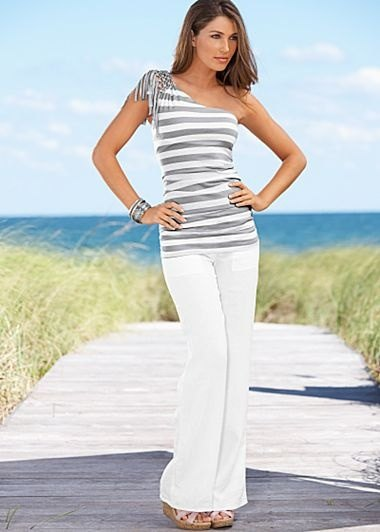 one shoulder striped tank top white linen pants