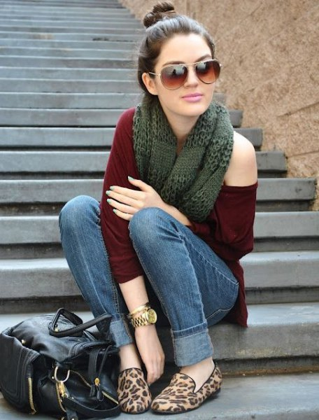one shoulder sweater scarf cheetah flats