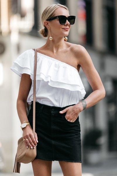 one shoulder white ruffle top black mini skirt