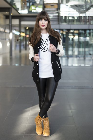 oversized baseball jacket leather leggings