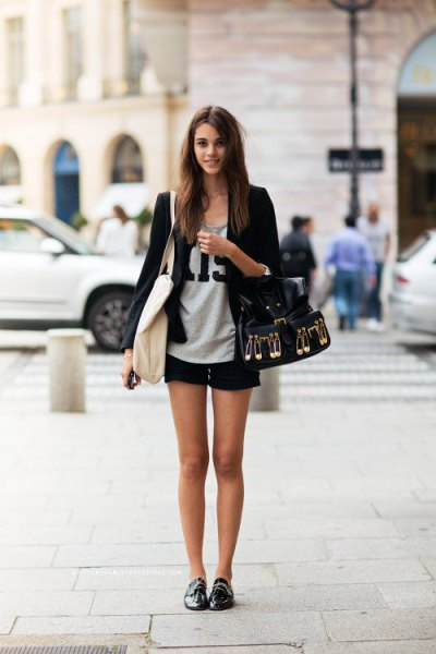 oxford shoes black bomber jacket shorts