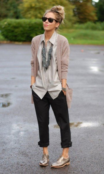 oxford shoes shirt cardigan