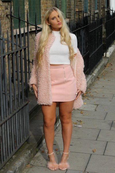 pale pink fluffy heels teddy cardigan