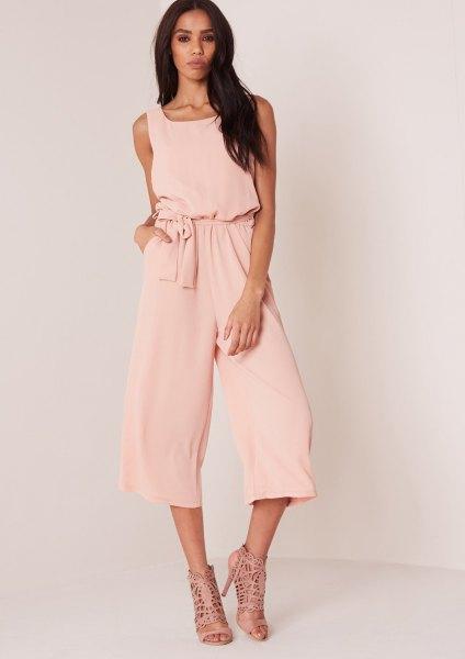 pale pink tie waist jumpsuit strappy sandals