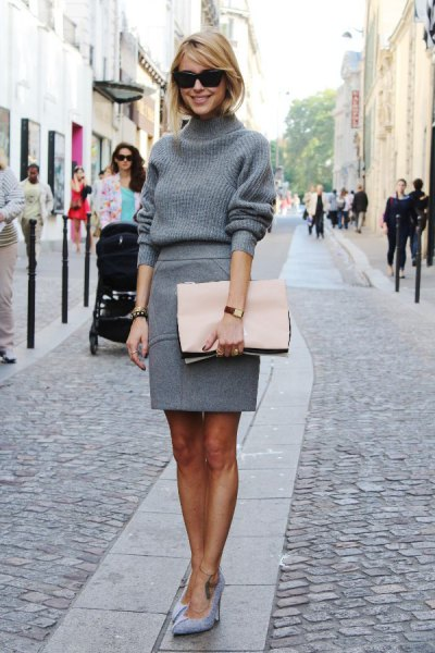 pencil wool skirt grey turtleneck knit sweater