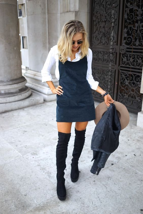 pinafore dress navy blue