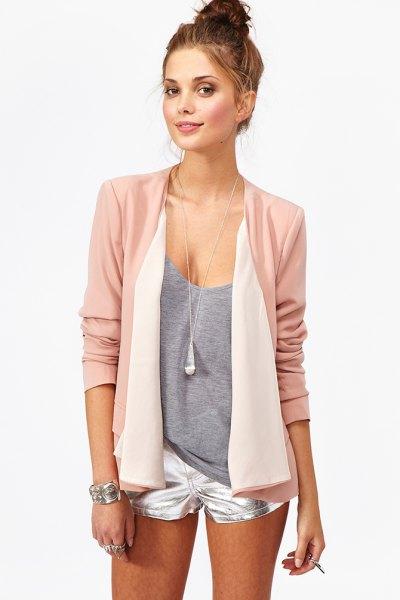 pink chiffon blazer silver shorts