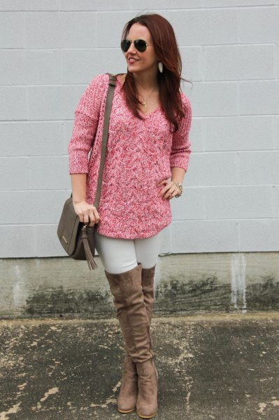 pink chunky marled knit sweater thigh high boots