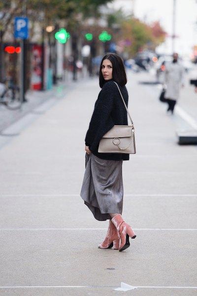 pink velvet ankle boots grey maxi skirt