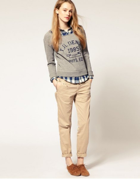 plaid shirt grey sweater chinos
