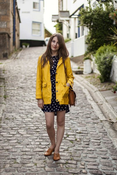 polka dot mini dress yellow raincoat