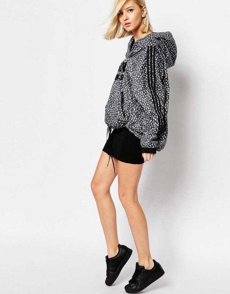 polka dot oversized windbreaker jacket black skirt