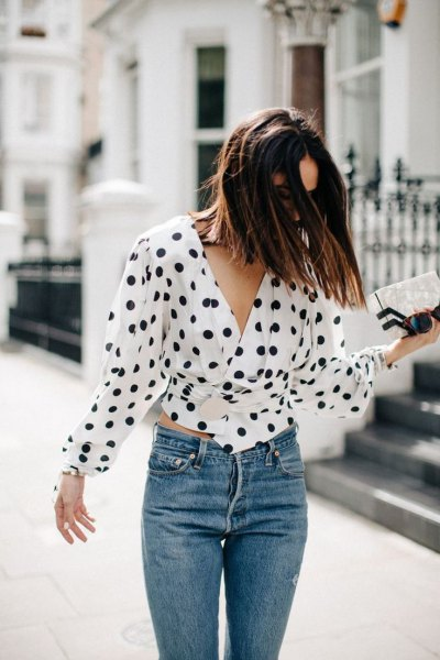 polka dot tie waist blouse jeans outfit