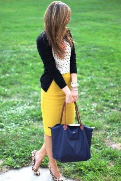 polka dot top yellow skirt cheetah flats