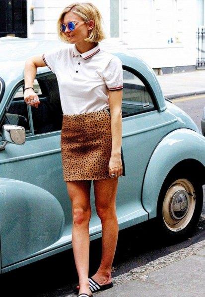 polo shirt cheetah skirt outfit
