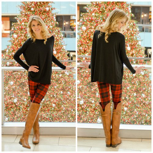 red and black plaid leggings over the knee boots