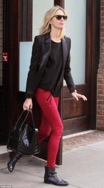 red leggings black sweater blazer