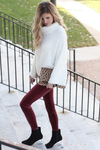 red leggings white turtleneck chunky sweater
