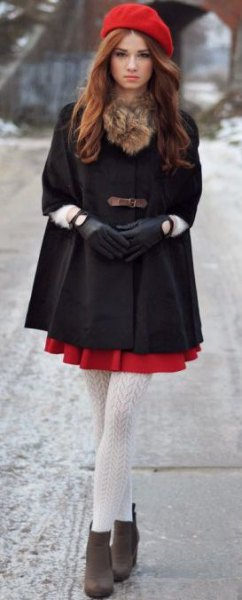 red painters hat black tunic top
