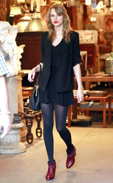 red pointy toe ankle boots black blazer