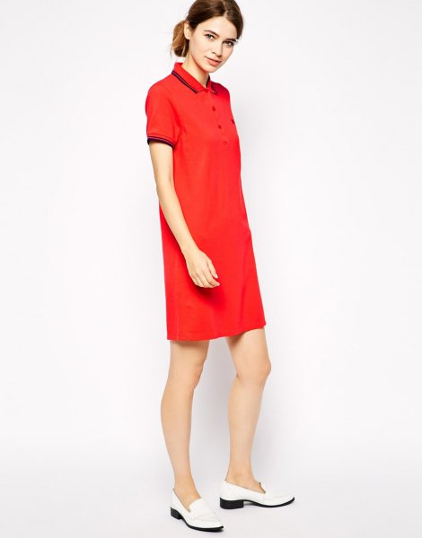 red polo shirt dress white loafers outfit