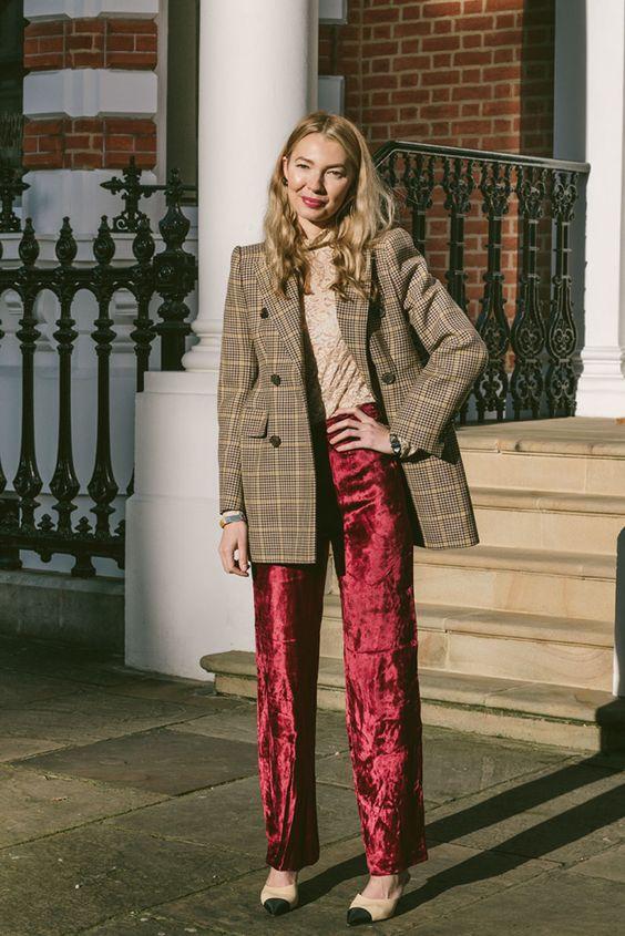 red velvet pants plaid blazer