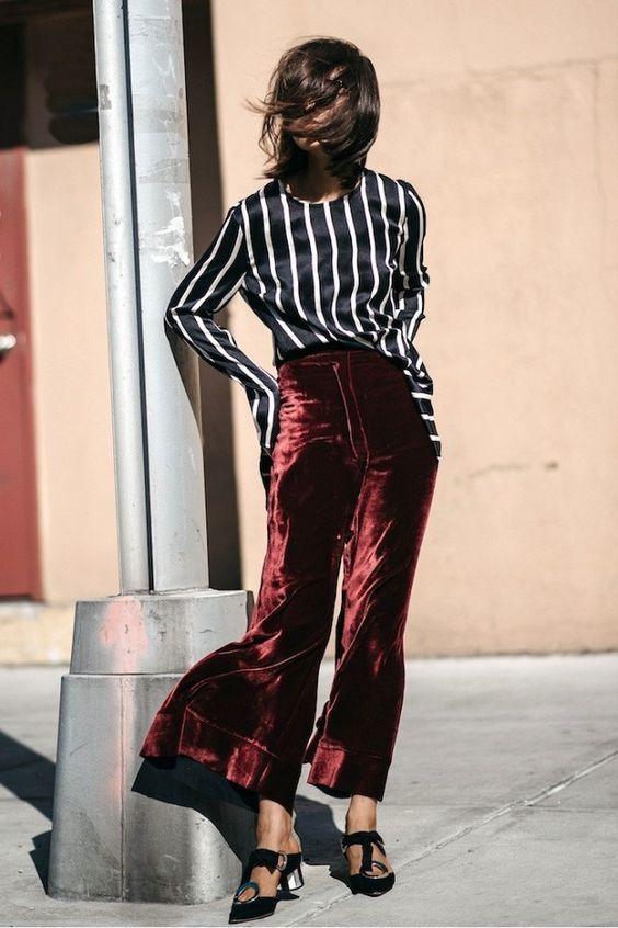red velvet pants silk blouse