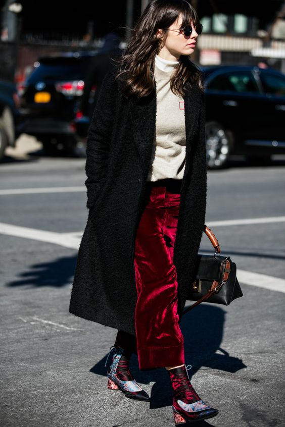 red velvet pants white sweater