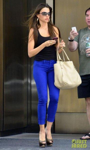 royal blue jeans black vest top