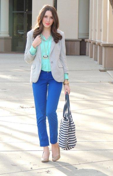 royal blue jeans grey blazer outfit
