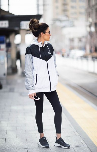 running tights nike black white grey windbreaker jacket