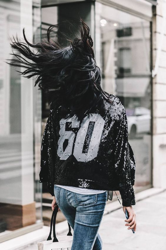 sequin bomber jacket number