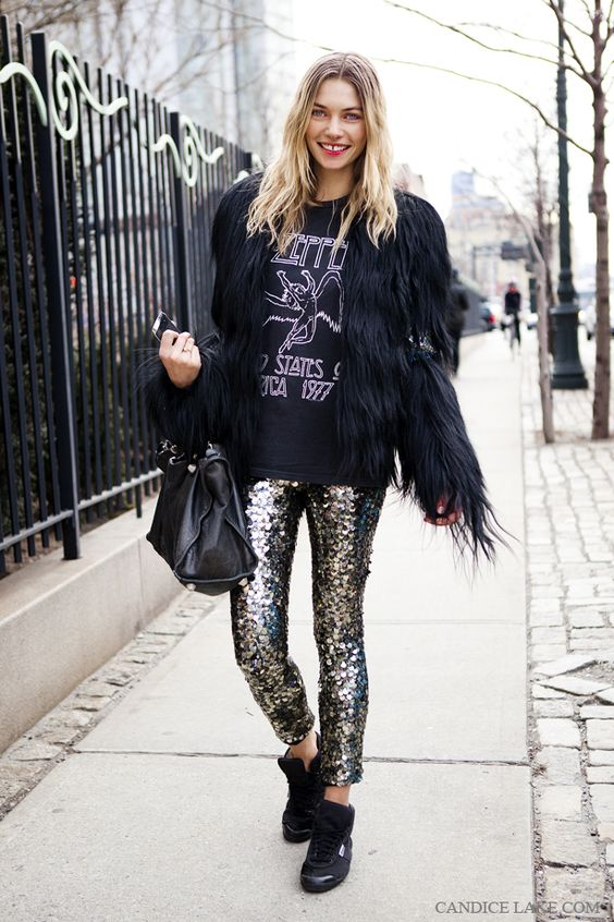 sequin leggings faux fur coat