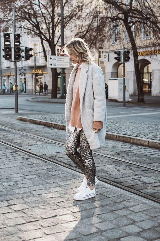 sequin leggings grey coat