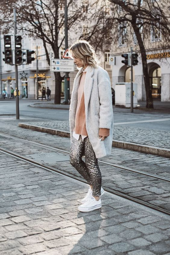 sequin leggings grey coat