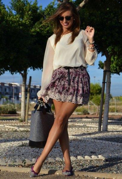 sheer sleeve white chiffon blouse floral skirt