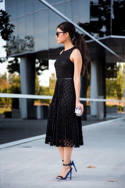 sleeveless tie waist midi dress net overlay