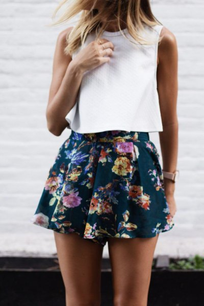 sleeveless white top navy floral chiffon shorts