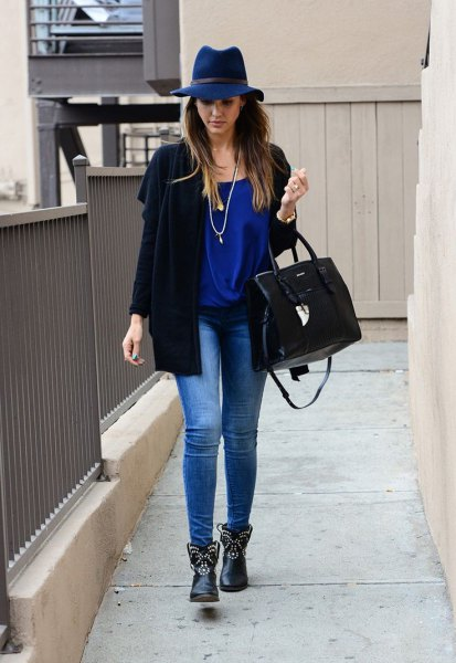 studded boots with black cardigan