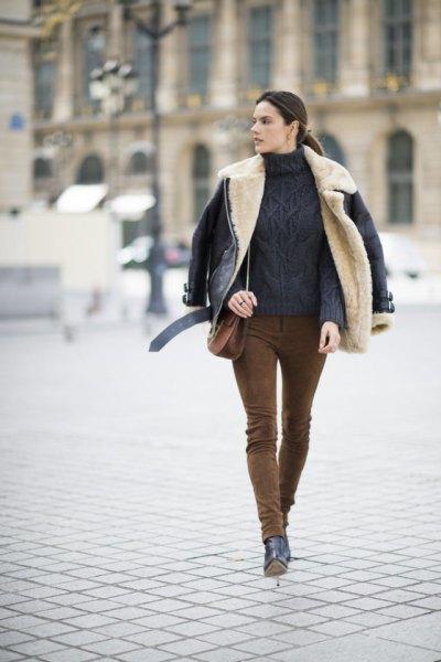 suede pants fur collar leather jacket