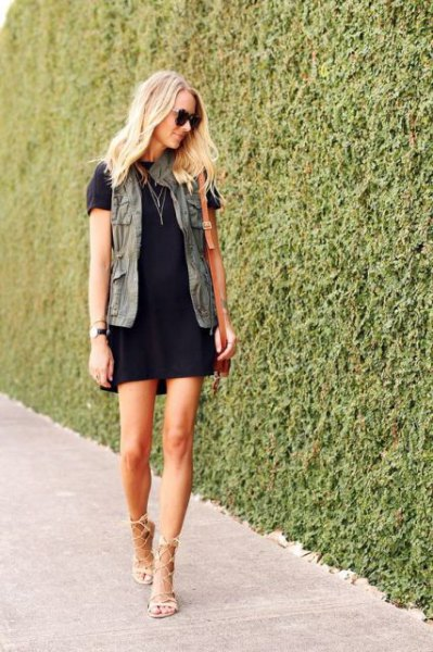 t shirt dress nude heels cargo vest