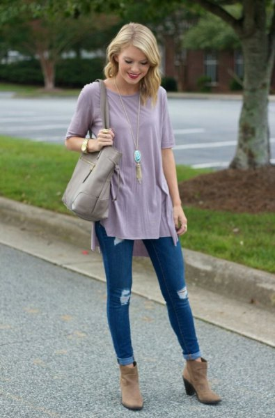 tee dress ripped jeans suede ankle boots