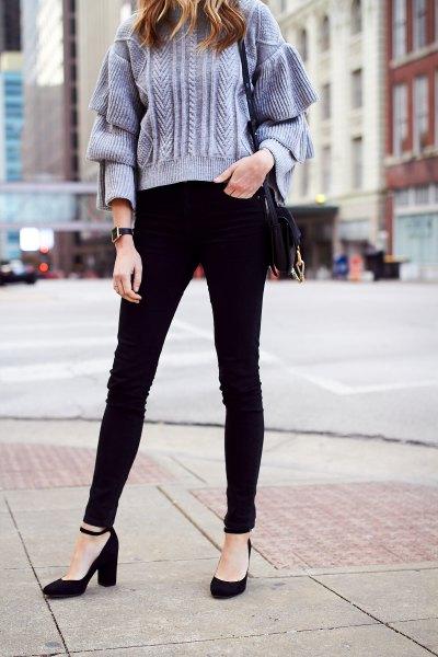 tiffany blue chunky knit sweater black ankle strap heels