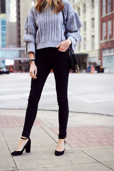 tiffany blue chunky knit sweater black ankle strap heels
