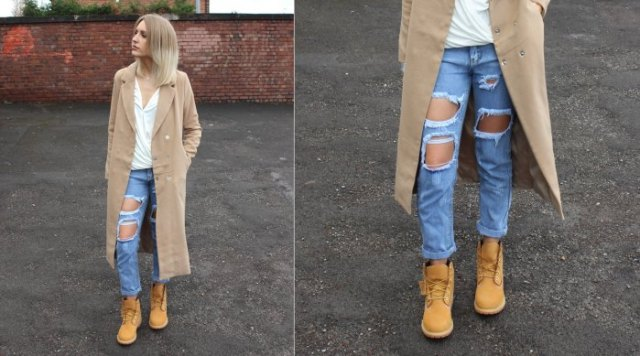 timberland boots white shirt long trench coat