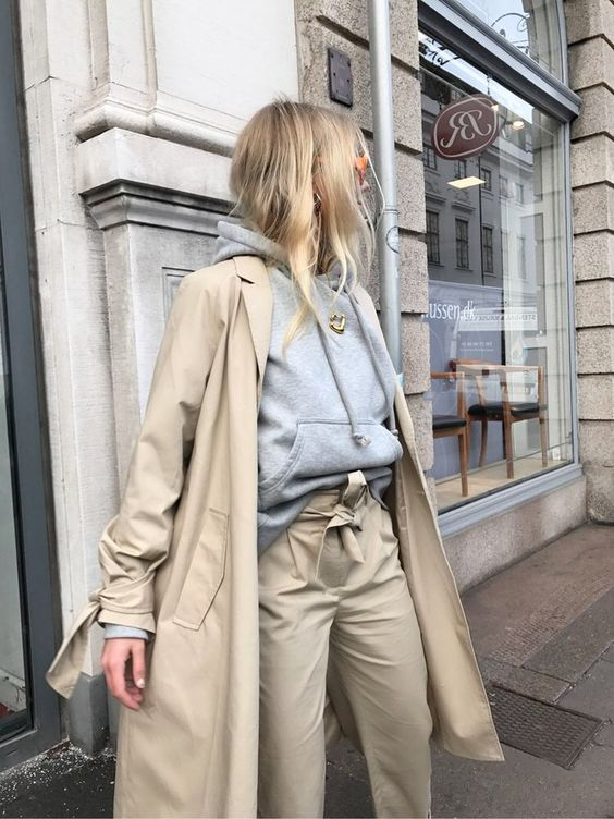 trench coat oversized long beige grey