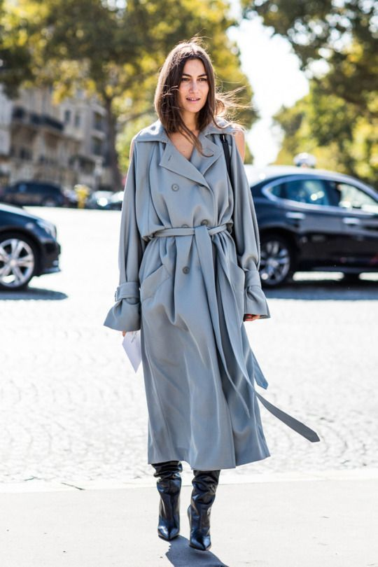 trench coat oversized long blue