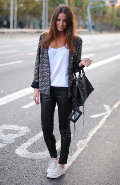 tweed jacket black leather leggings