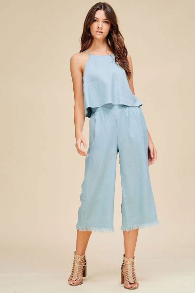 two piece outfit set linen top cropped pants