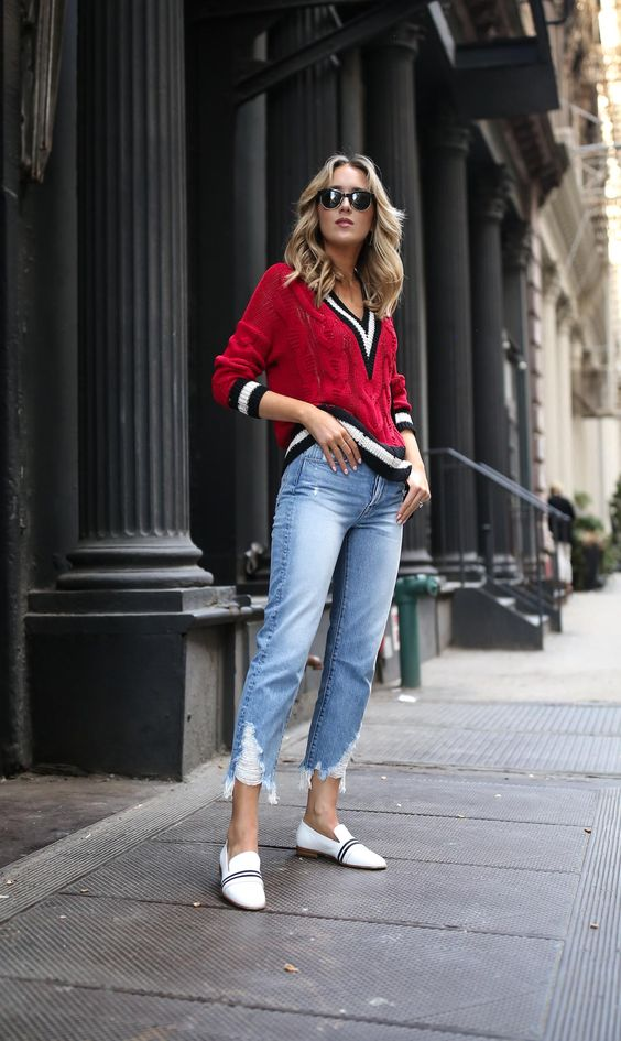 v neck sweater red tennis